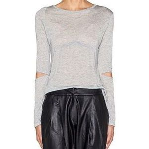 Monrow Elbow Cut Out Long Sleeve Top-NEW